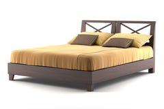 деревянное кровати изолированное коричневым цветом белое Стоковое фото RF