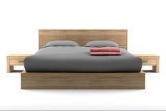 деревянное кровати изолированное коричневым цветом белое Стоковые Фото