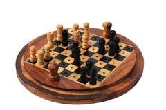 деревянное миниатюры круга шахмат установленное Стоковое Изображение RF