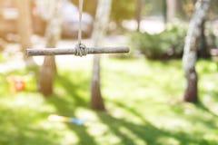Деревянное одиночное качание веревочки в саде на яркий солнечный день Лужайка зеленой травы на предпосылке Дети имея потеху и лет Стоковое Изображение