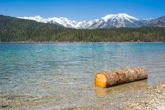 Деревянное озеро Eibsee logon и горы Альпов Стоковые Изображения