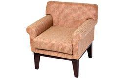 Деревянное одно--seater кресло, обитая ткань медового цвета, Стоковое фото RF