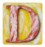 Деревянное письмо d алфавита Стоковое Изображение