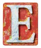 Деревянное письмо e алфавита Стоковое Изображение