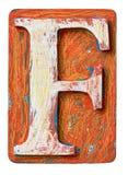 Деревянное письмо f алфавита Стоковая Фотография
