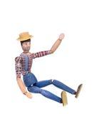 Деревянное покрашенное вручную человека изолированное на белизне Стоковые Изображения