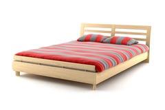 деревянное предпосылки изолированное кроватью белое Стоковые Изображения