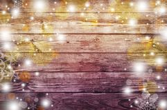 деревянное предпосылки старое Праздничные света Партия ночи Стоковое фото RF