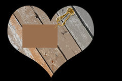 Деревянное сердце с сообщением - конспектом Стоковое Изображение