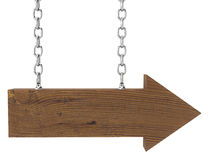 деревянное стрелки изолированное цепью белое Стоковые Изображения