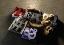 Деревянное слово 'текст» формы блоков печатания Графический взгляд на типе a Стоковая Фотография