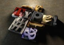 Деревянное слово 'тип' формы блоков печатания Графический взгляд на типе Стоковые Изображения RF