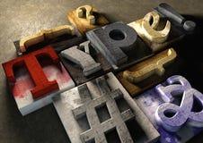 Деревянное слово 'тип' формы блоков печатания Графический взгляд на типе Стоковое Изображение RF