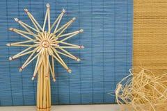 Деревянное украшение на голубой предпосылке Стоковая Фотография RF