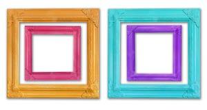 деревянное цветастой рамки установленное Стоковые Фото