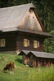 деревянное чехословакской дома старое стоковая фотография