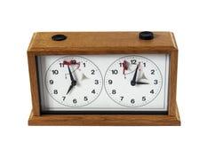 деревянное шахмат изолированное часами белое стоковое фото rf