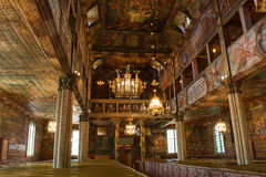 Деревянное intrior церков Стоковые Фото