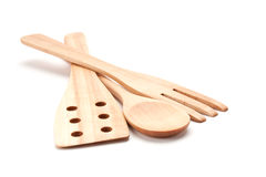 деревянное kitchenware установленное Стоковое фото RF