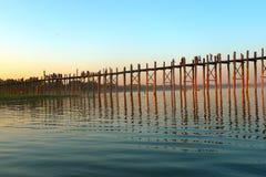 деревянное myanmar ландшафта моста старое Стоковое фото RF