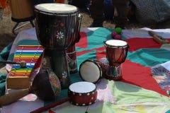 Деревянные африканские барабанчики djembe Стоковое фото RF