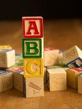 Деревянные блоки алфавита Стоковые Фото