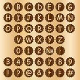 Деревянные блоки алфавита с письмами и номерами Стоковое фото RF