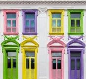 Деревянные винтажные окно и двери цвета Стоковые Изображения