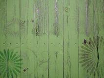 Деревянные винтажные текстуры с флористическими граффити Стоковое Изображение