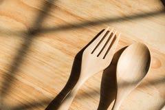 Деревянные вилка и ложка Стоковая Фотография RF