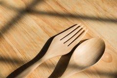Деревянные вилка и ложка Стоковое Изображение RF