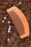 Деревянные гребень и волосы Стоковое фото RF