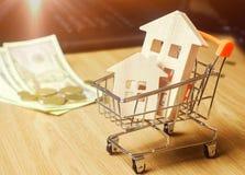 Деревянные дома в вагонетке и деньгах супермаркета Аналитик рынка недвижимости имущество принципиальной схемы реальное Продажа и  стоковые фото