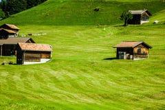 Деревянные дома в Malbun в Лихтенштейне, Европе Стоковые Изображения RF