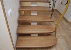 Деревянные лестницы и tracery металла выковали перила Стоковые Изображения