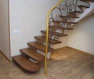 Деревянные лестницы и tracery металла выковали перила Стоковая Фотография