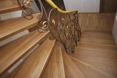 Деревянные лестницы и tracery металла выковали перила Стоковое фото RF