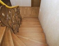 Деревянные лестницы и tracery металла выковали перила Стоковые Фотографии RF
