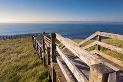 Деревянные лестницы к пляжу Ventnor стоковые изображения rf