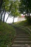 Деревянные лестницы поднимают холм Стоковое Изображение
