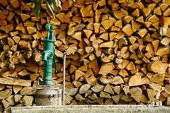 Деревянные журналы и водяная помпа стоковое изображение rf