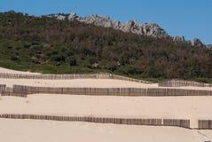 Деревянные загородки на дезертированных дюнах пляжа в Тарифе, Испании Стоковые Фото