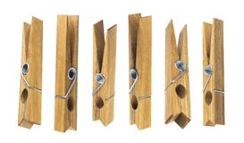 Деревянные зажимки для белья изолированные на белой предпосылке Стоковое Изображение