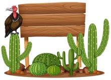 Деревянные знак и хищник в саде кактуса иллюстрация вектора