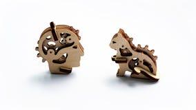 Деревянные игрушки человек и кот Стоковые Фото