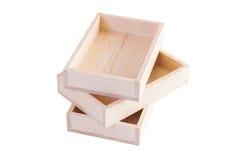 Деревянные изолированные коробки Стоковые Фотографии RF