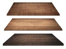 Деревянные изолированные полки, столешница или разделочная доска Стоковое фото RF