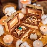 Деревянные коробки с кольцами Стоковые Фото