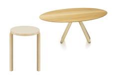 Деревянные круглый стол и табуретка Стоковые Фото