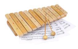 Деревянные ксилофон и примечания Стоковое Изображение